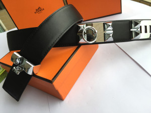 Hermes Collier de Chien belt black with silver plated buckle