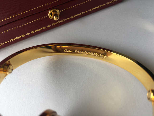 Cartier LOVE bracelet with Great Markings and Engravings